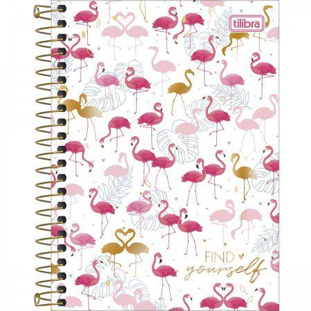 Caderneta Tilibra Aloha Find yourself Flamingo 80 folhas
