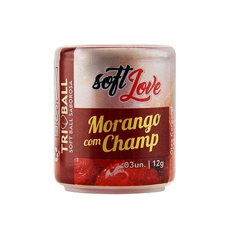 Bolinha Beijável Morango Com Champanhe 03 Unidades - Soft Love