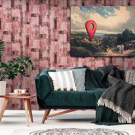 Papel de Parede Vinílico Importado Textura Abstrato Patina - Rosa