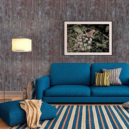 Papel de Parede Vinílico Importado Textura Madeira Cinza Com Marrom