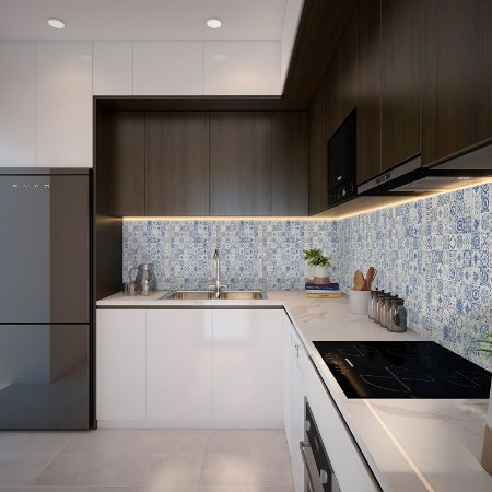 Papel de Parede Texturizado Importado Azulejo Português - Azul