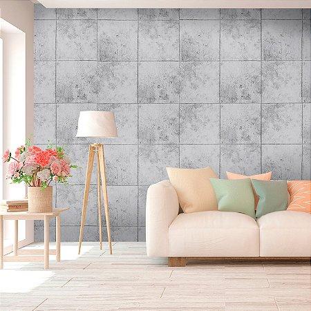 Papel de Parede Texturizado Importado Azulejo Cimento Queimado - Cinza Claro