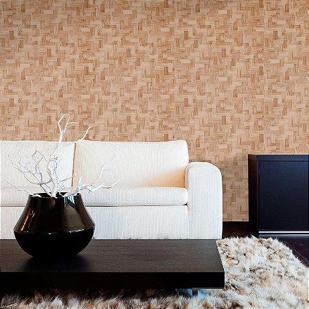 Papel de Parede Texturizado Importado Bambu Bege Escuro