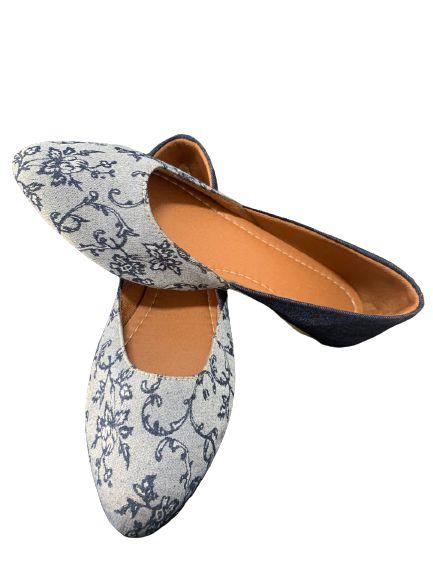 Sapatilha tecido floral azul