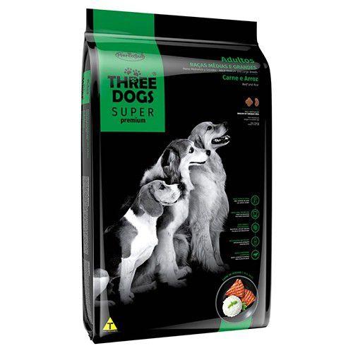 THREE DOGS SUPER PREMIUM CARNE E ARROZ ADULTOS MEDIAS E GRANDES 3KG