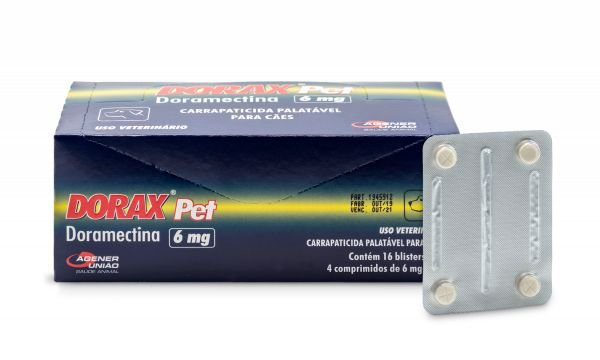 DORAX PET DORAMECTINA 6 MG PARA CÃES CARTELA C/ 4 COMPRIMIDOS