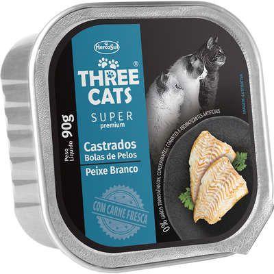 THREE CATS SUPER PREMIUM PATÊ CASTRADOS BOLA DE PELO PEIXE BRANCO 90G