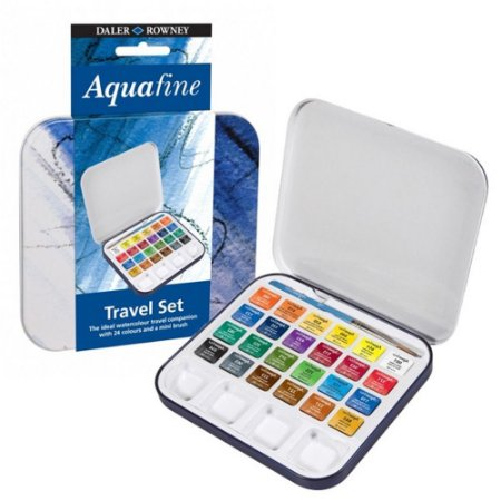 Aquarela Daler Rowney Aquafine 24 Cores Pastilha + Pincel