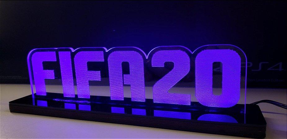 Luminária De Acrílico Led Fifa 20 Símbolos 25cm