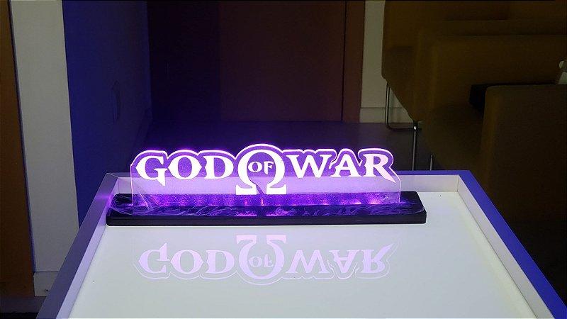 Luminária De Acrílico Led God Of War Símbolos 25cm
