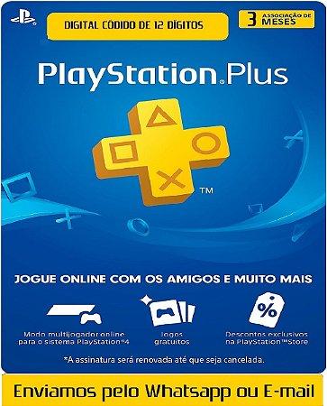 Cartão Playstation Plus 3 Meses Assinatura Oficial 12 Digitos