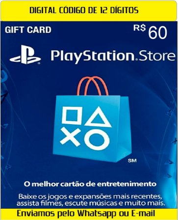 Cartão Presente Digital Playstation BR 60 Reais 12 Digitos