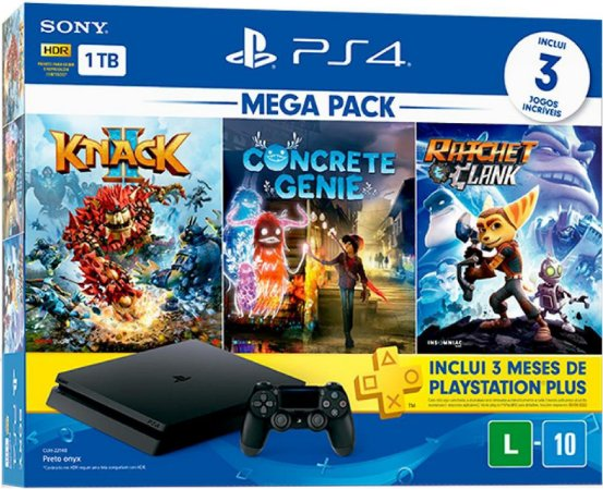 Console Playstation 4 Mega Pack Family 1TB Knack 2 + Concrete Genie + Ratchet & Clank