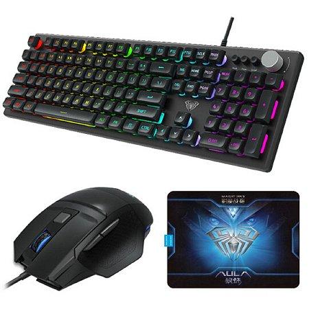Kit Gamer Teclado Mouse e Mousepad Aula Wind T202 com LED