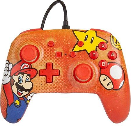 Controle PowerA Com Fio Nintendo Switch Super Mario Vermelho