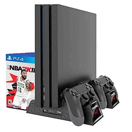 PS4 Base Multifuncional Com Cooler E Carregador De Controle