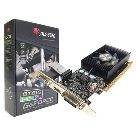 Placa de Vídeo NVIDIA Afox GeForce GT 610 2GB DDR3 64 Bits Low Profile VGA DVI HDMI