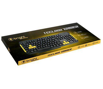 Teclado Gamer Bright, ABNT2, Preto/Amarelo