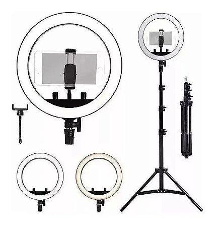 Ring Light Tripé Iluminador Led Portátil 32cm + Tripé 210cm
