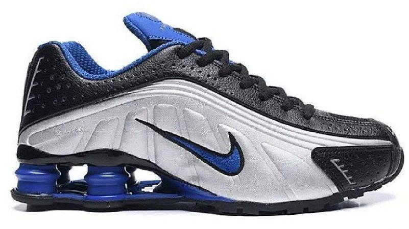 Nike Shox R4 Azul e cinza