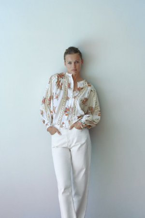 Camisa Floral Mangas Amplas