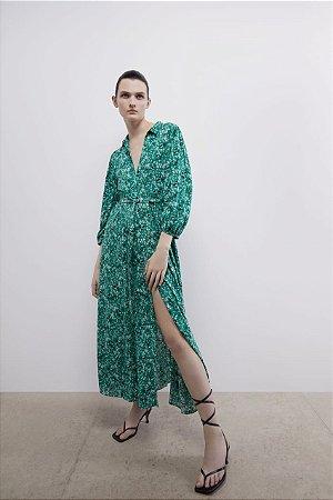 Vestido Midi Floral com Fenda
