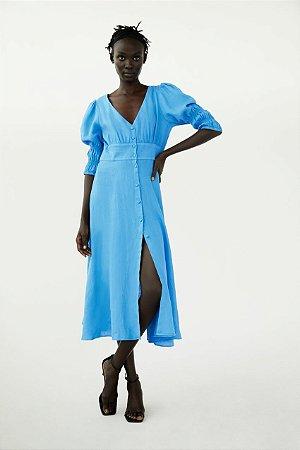 Vestido Midi Linho Botoes