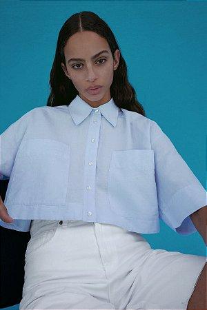 Camisa Cropped Mangas Curtas