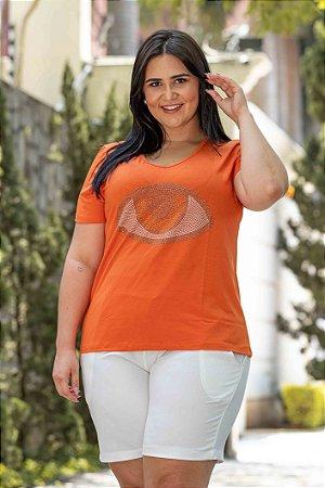 Blusa Feminina Plus Size Manga Curta Eye Orange
