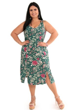 Vestido Feminino Com Fivela no Ombro Plus Size