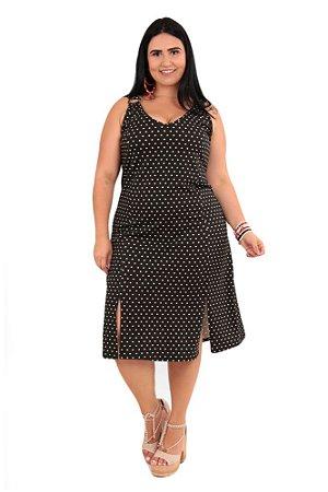 Vestido Feminino Poa Com Fendas Laterais Plus Size