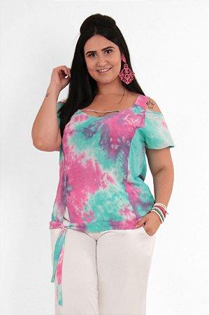 Blusa Feminina Estampa Tie Dye Com Amarração Plus Size