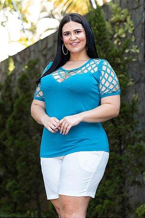 Blusa Feminina Plus Size Laser Blue