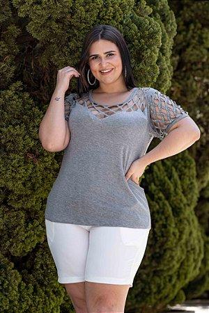 Blusa Feminina Plus Size Laser Gray