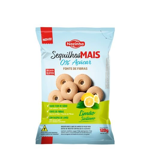 Sequilhos mais Zero açúcar Fonte de fibras limão siciliano 120g