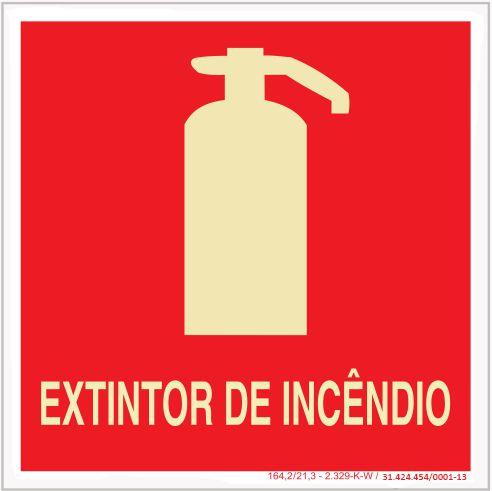 Placa Sinalização de Emergência - Fotoluminescente - Extintor de incendio