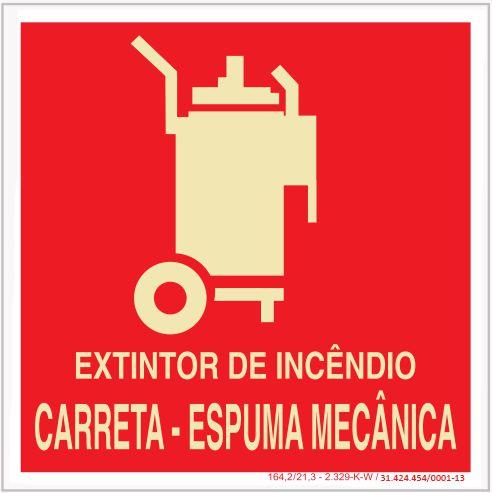 Placa Sinalização de Emergência - Fotoluminescente - Extintor de incêndio carreta - Espuma mecânica
