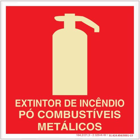 Placa Sinalização de Emergência - Fotoluminescente - Extintor de incêndio CO² - Pó combustiveis Metálicos