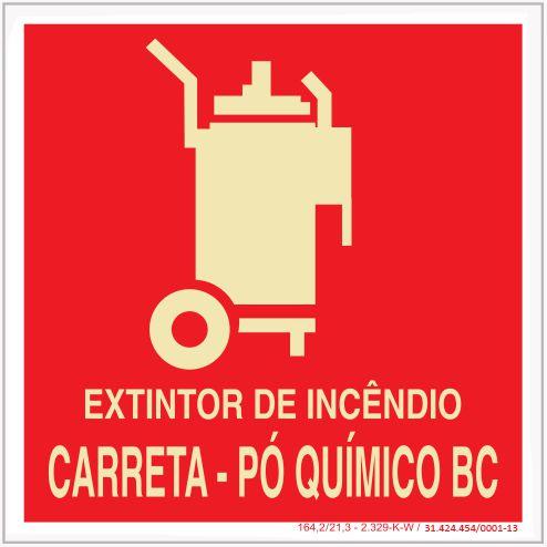 Placa Sinalização de Emergência - Fotoluminescente - Extintor de incêndio carreta - Pó Quimico BC