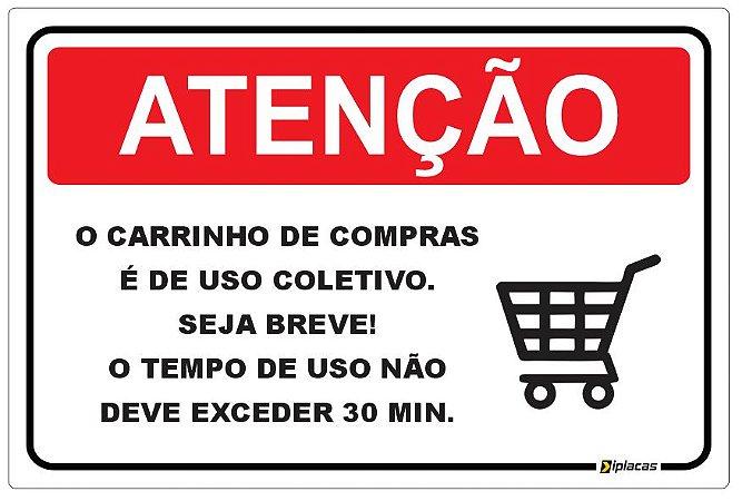 Placa Aviso - Carrinho de Compras Condôminio