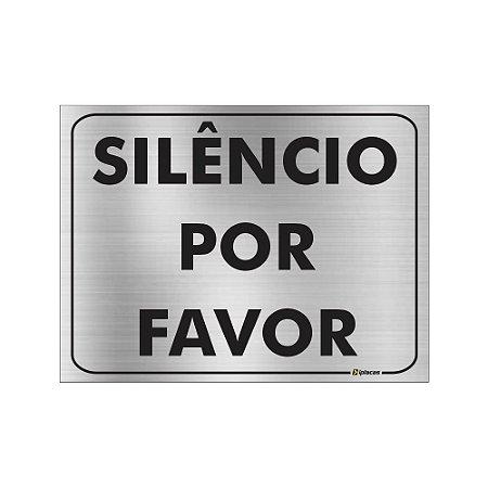 Placa - Silêncio por favor - Aluminio