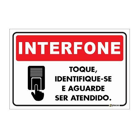 Aviso - INTERFONE - Toque, Identifique-se e Aguarde ser Atendido