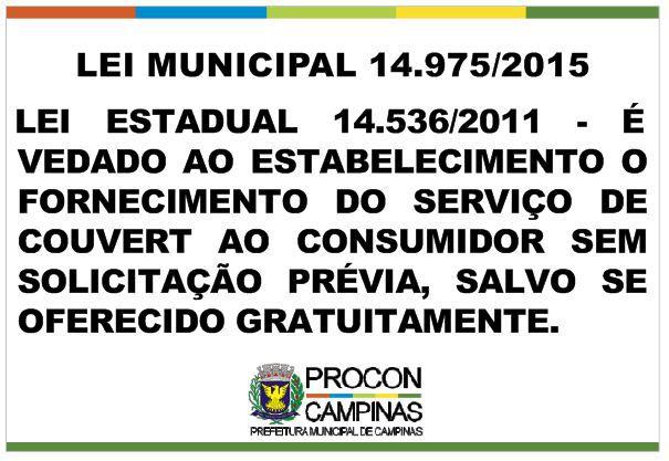 Placa - Couvert Artístico - Lei Municipal 14.975/2015