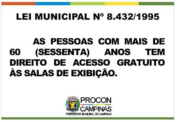 Placa - Acesso gratuito as salas de exibição - Lei Municipal 8.432/1995