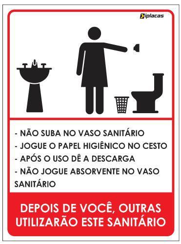 Placa WC Feminino com instruções