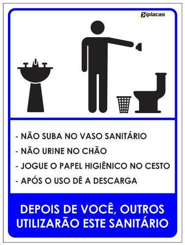 Placa WC Masculino com instruções
