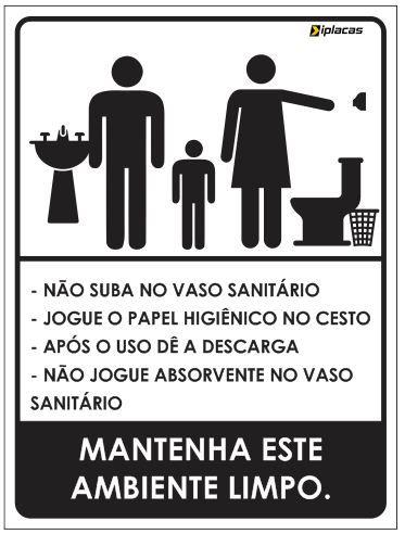 Placa WC Familiar com instruções