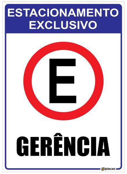 Placa Estacionamento Exclusivo Gerência