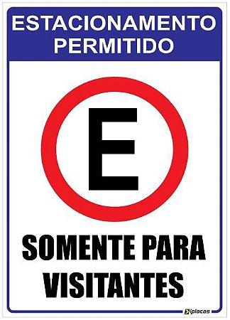 Placa Estacionamento Permitido - Somente para Visitantes