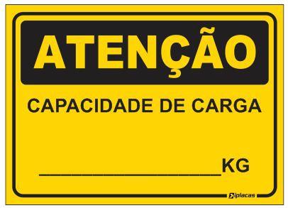 Placa Atenção - Capacidade de Carga - KG